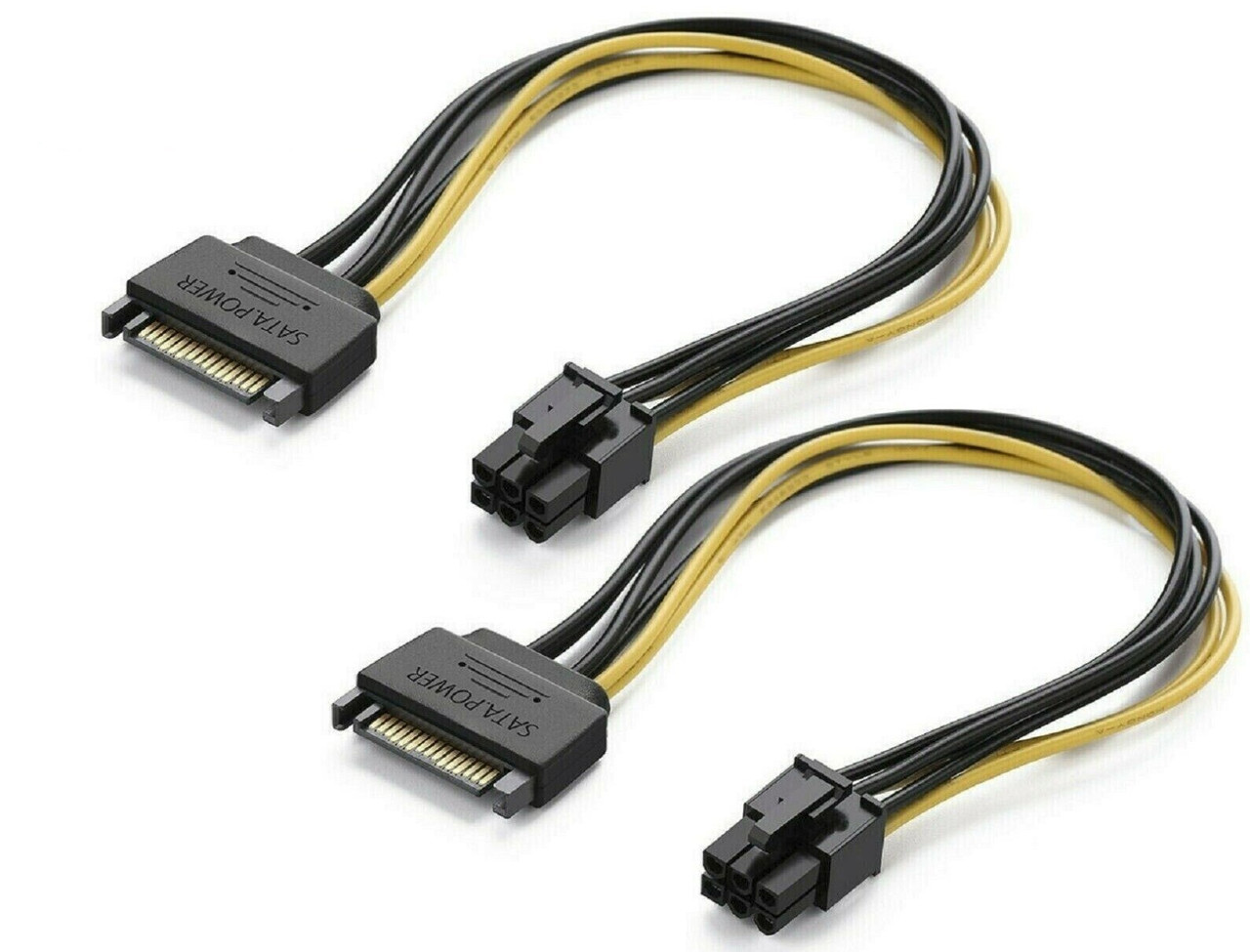 (2 Pack) SATA 8-Inch 15-Pin to 6-Pin PCI Express Card Power Cable