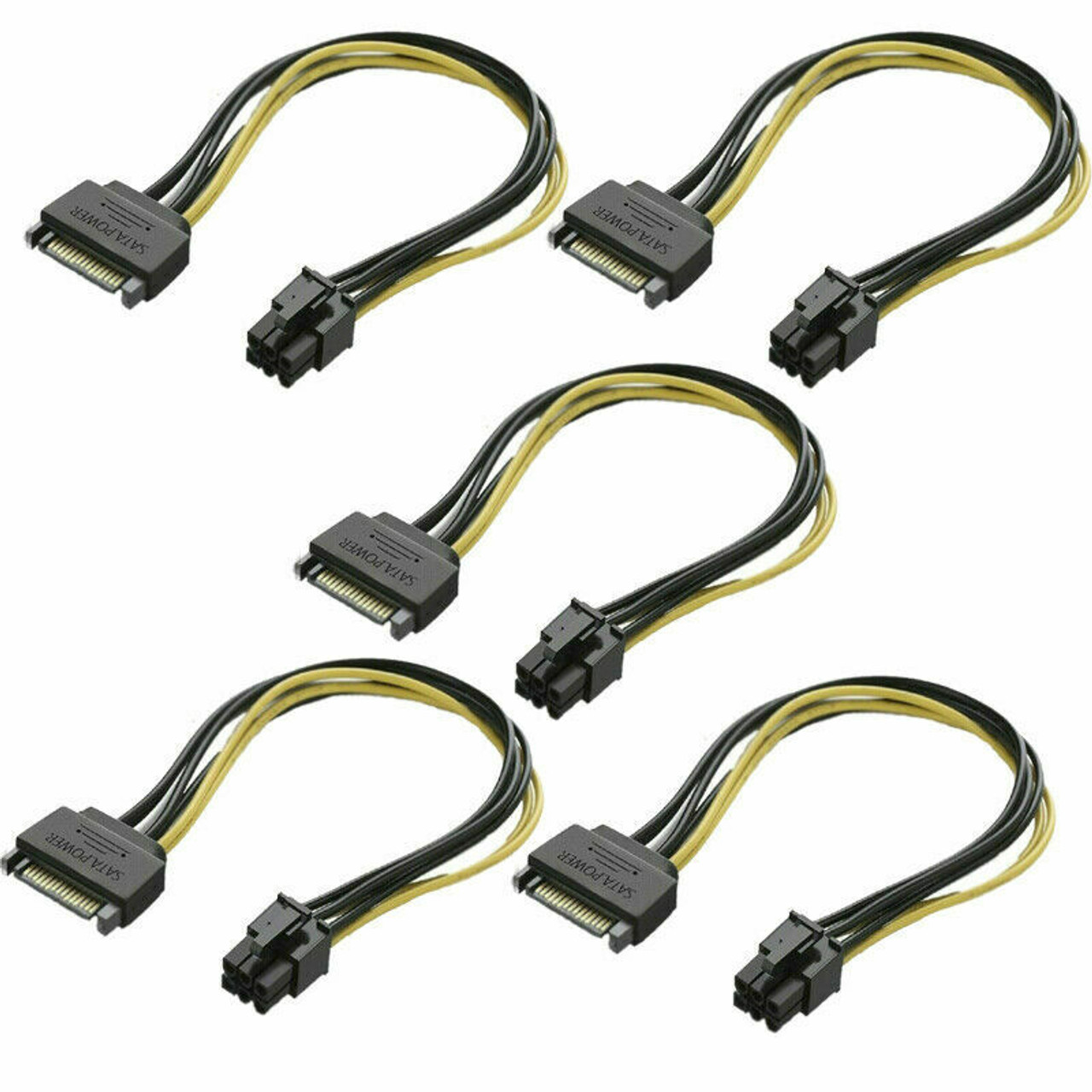 (5 Pack) SATA 8-Inch 15-Pin to 6-Pin PCI Express Card Power Cable