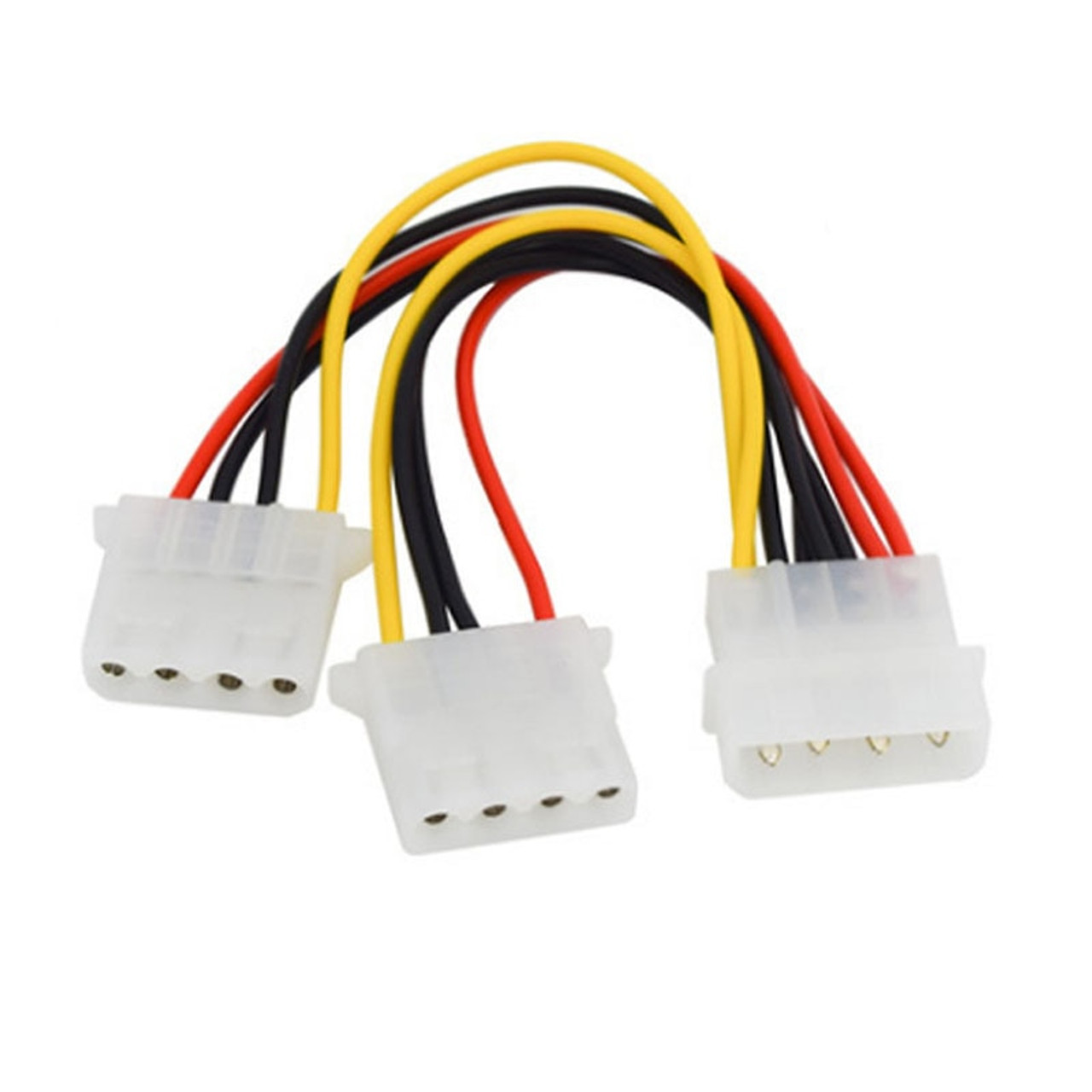 (5 Pack) 4-pin Molex Male to 2x Female Power Y-Splitter Cable IDE IP4 Extension Adapter