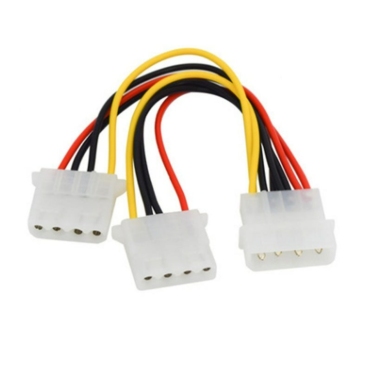 4-pin Molex Male to 2x Female Power Y-Splitter Cable IDE IP4 Extension Adapter