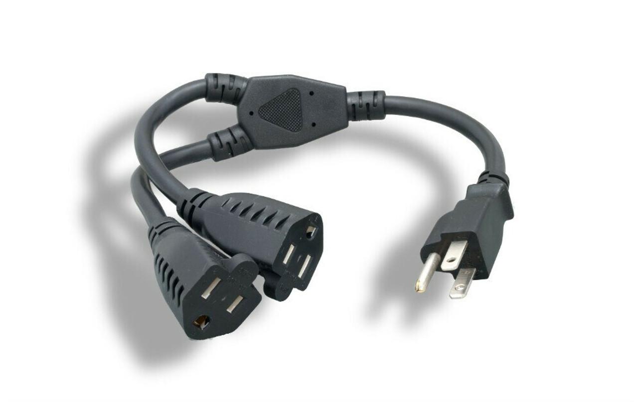 6Ft Dual Power Cord Splitter 16 AWG