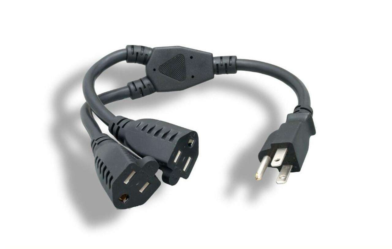 2Ft Dual Power Cord Splitter 16 AWG