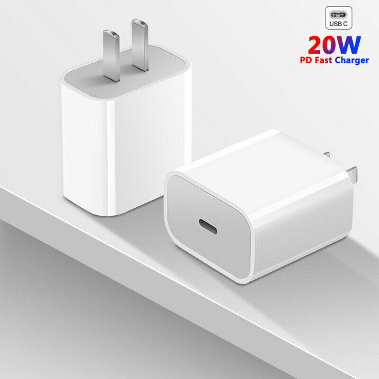 20W PD USB-C Power Adapter Fast Charger for iPhone 8/X/XR/XS/11/12/12 Pro/iPad