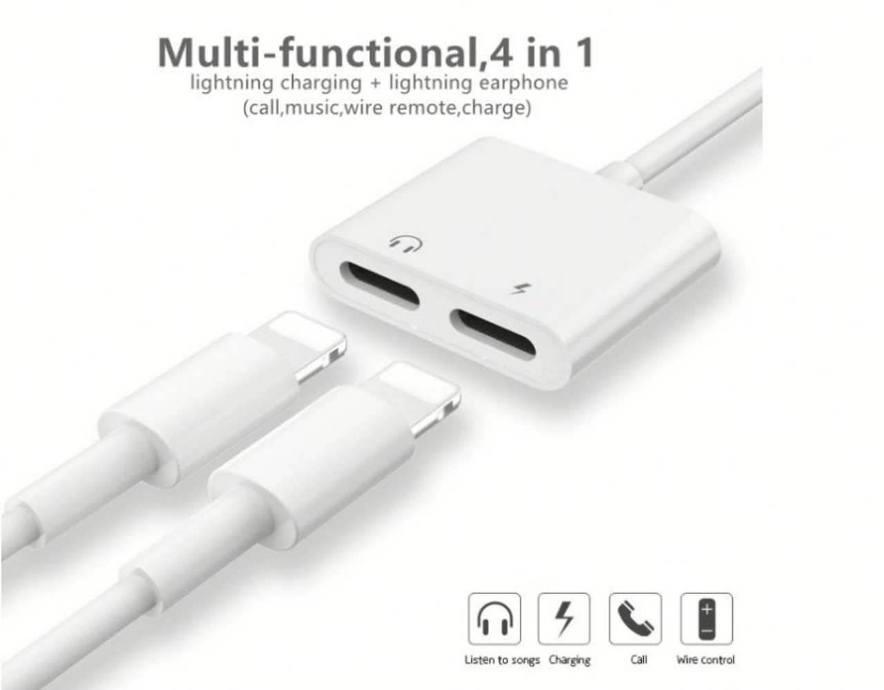Dual Adapter for iPhone Headphone & Charger 4 in 1 Splitter Apple 7 8 X XR XS 11