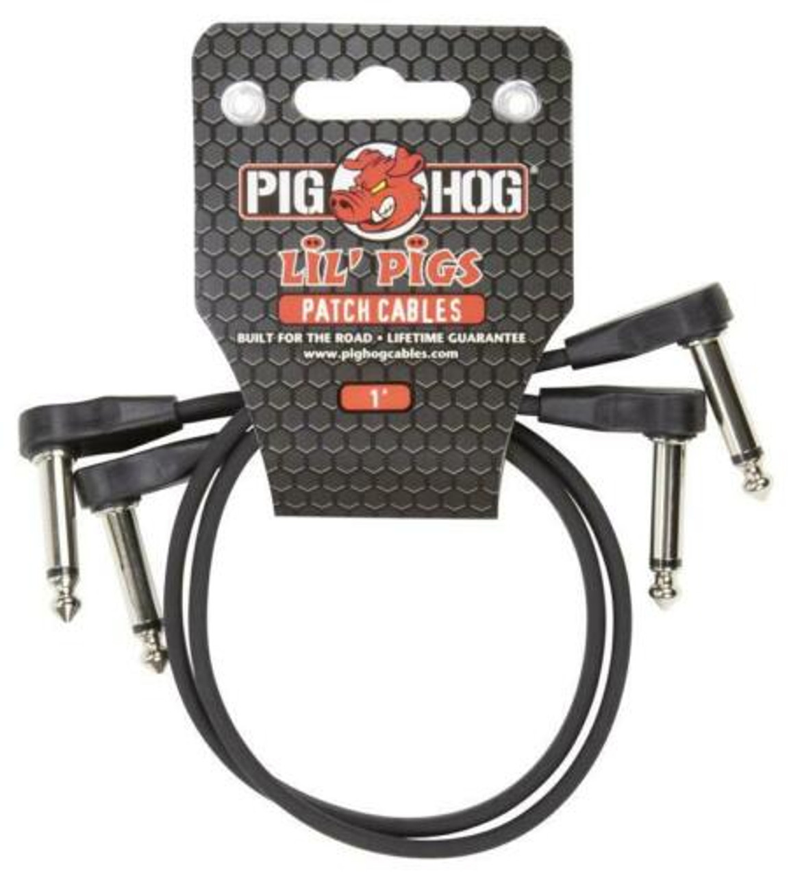 """Pig Hog Lil' Pigs PHLSK10BK  1ft 1/4"""" TS Mono Right Angle Male to Male Low Profile Cables - (2-Pack)"""