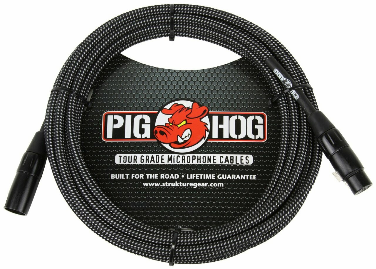 Pig Hog PHM10BKW  10Ft Black/White Woven High Performance XLR Microphone Cable
