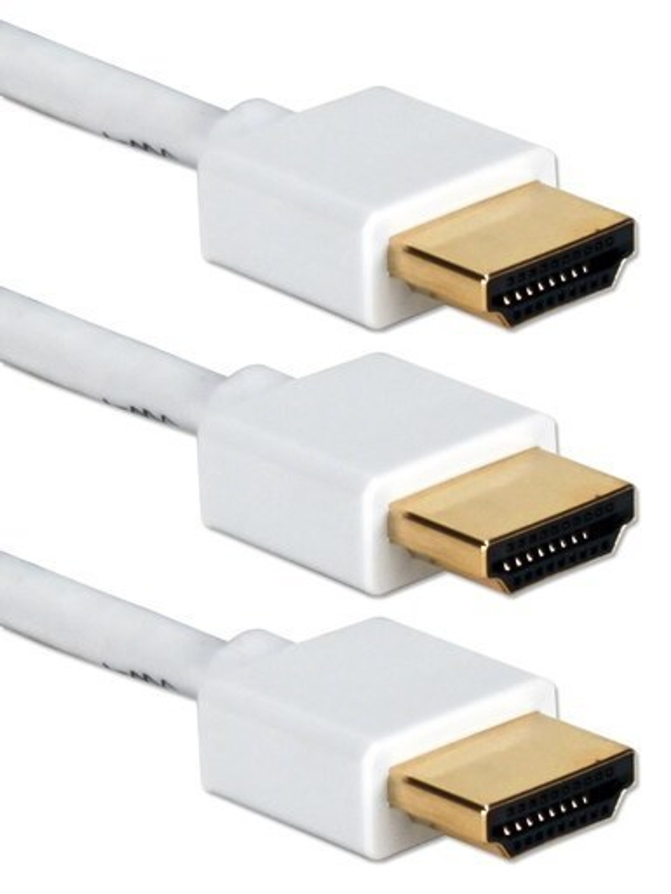 3ft 3-Pack High Speed HDMI UltraHD 4K with Ethernet Thin Flexible White Cables