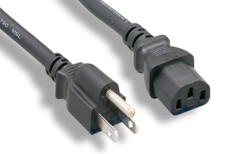 6 Ft Shielded Standard Power Cord 18 AWG