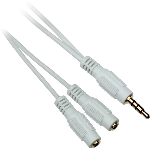 6 inch 3.5mm TRRS Stereo Male to 2 x 3.5mm Female Stereo Cable
