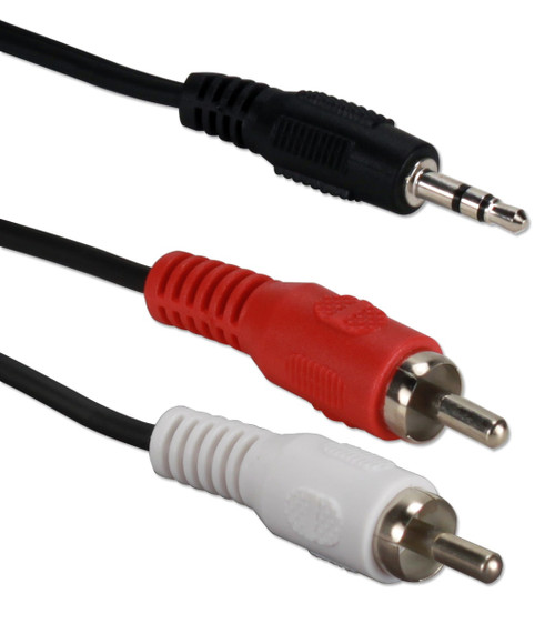 6ft 3.5mm Mini-Stereo Male to Dual-RCA Male Speaker Cable