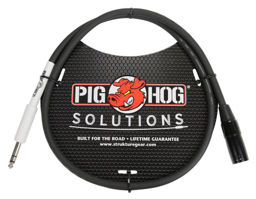 "Pig Hog Cable - XLR male to 1/4"" TRS, 3ft"