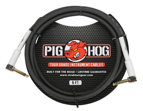 """Pig Hog 6ft 1/4"""" Right angle - 1/4"""" Right  angle  8mm Inst. Cable"""