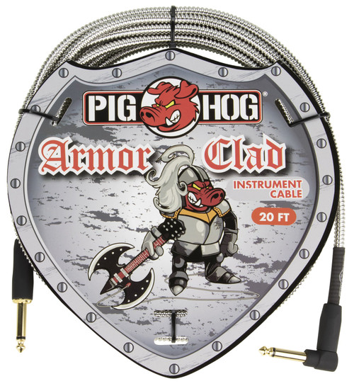 Pig Hog Armor Clad Instrument Cable, 20ft, Right Angle