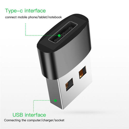 USB 3.1 Type C Female to USB 3.0 Type A Male Port Converter Adapter Black