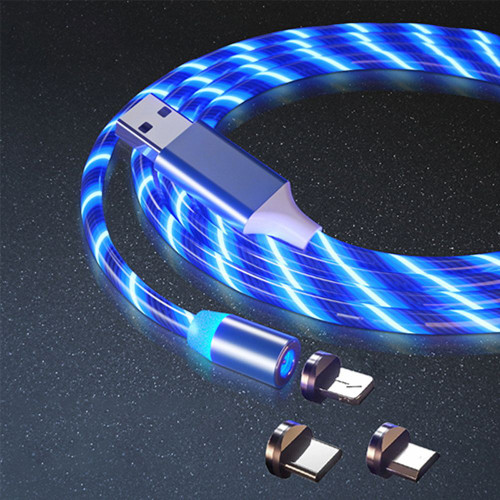 3 in 1 LED Glowing Mobile Phone Magnetic Blue Braided Charging Cable