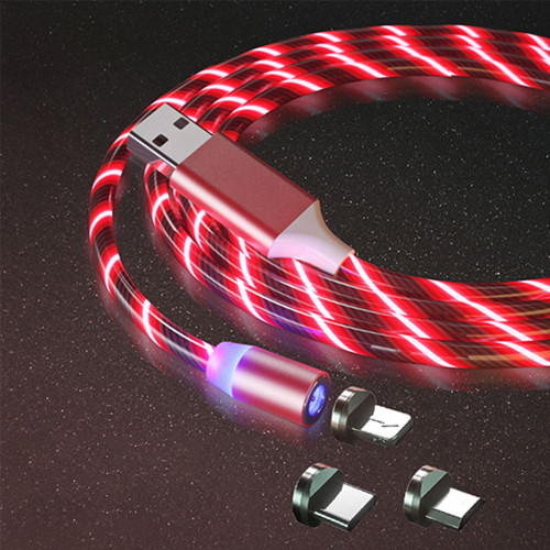 3 in 1 LED Glowing Mobile Phone Magnetic Red Braided Charging Cable
