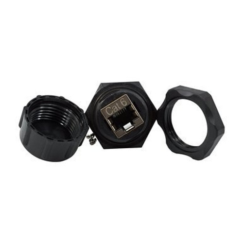 Cat 6 Waterproof Panel Mount Feed Thru Coupler with Dust Cap