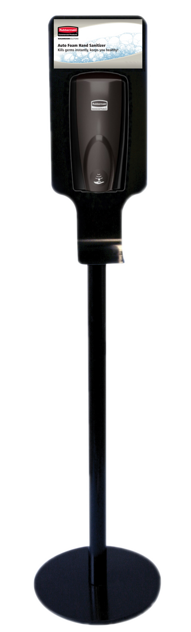 Rubbermaid Hand Hygiene Station - Black Steel Free-Standing Station - FG750824 Bundle with black dispenser and 2 refills Rubbermaid 1100ml Alcohol Free Hand Rub - RVU11585