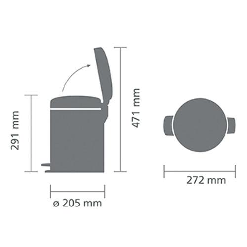 Brabantia Pedal Bin newIcon 5 litre Plastic Bucket - Brilliant Steel