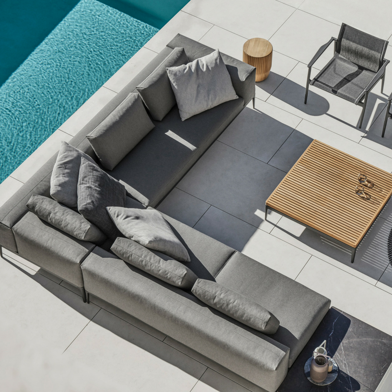 Create Year-Round Outdoor Seating with Gloster Grid Sectional + Sunbrella Fabric