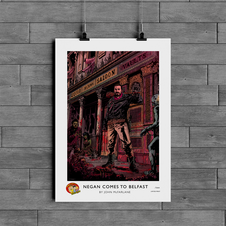 COMIC BOOK GUYS EXCLUSIVE NEGAN COMES TO BELFAST LIMITED A3 PRINT