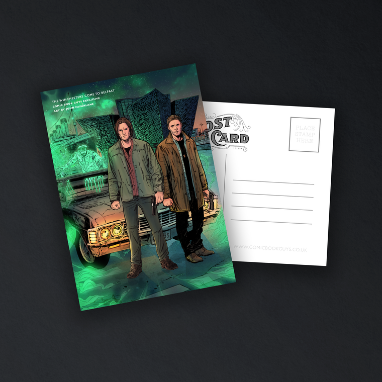 COMIC BOOK GUYS EXCLUSIVE THE WINCHESTERS COME TO BELFAST POSTCARD