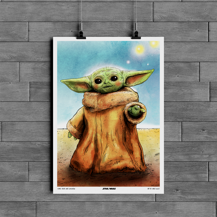 COMIC BOOK GUYS EXCLUSIVE THE MANDALORIAN BABY YODA LIMITED A3 PRINT