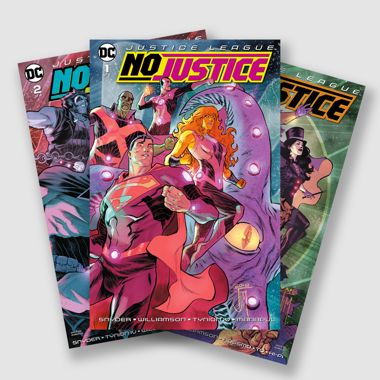 JUSTICE LEAGUE NO JUSTICE COMPLETE FOUR PART COMIC SET