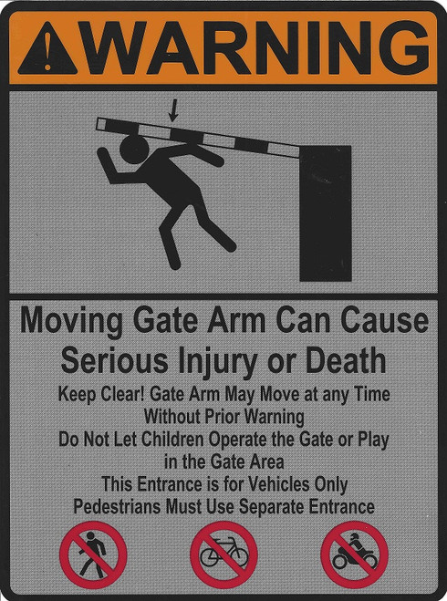 UL Vehicle Gates Safety label