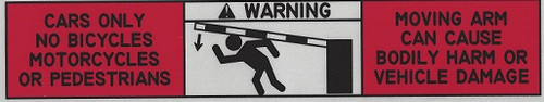 Gate arm warning sticker label