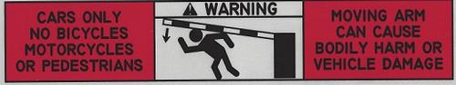 Gate arm warning sticker label