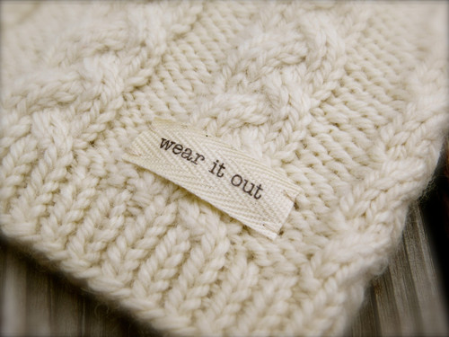 'wear it out' sewn-in tag