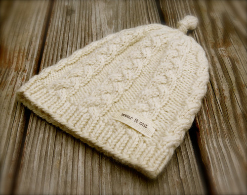 Knotted Cabled Cap  Pattern - PDF
