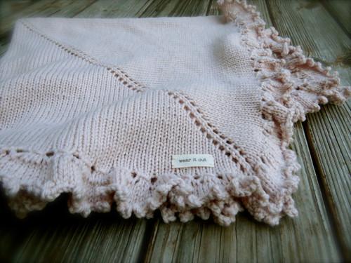 mini purl Handknit Blanket