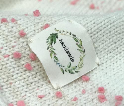 botanical 'handmade' sewn-in tag