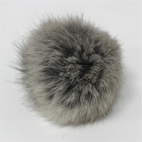 rabbit grey pompom (8cm) / pair