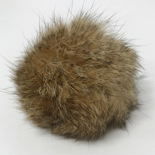 rabbit natural brown pompom (5cm) / pair