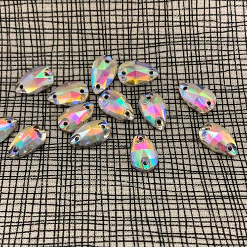 Flatback Glass Sew on Rhinestones  / 15 pcs