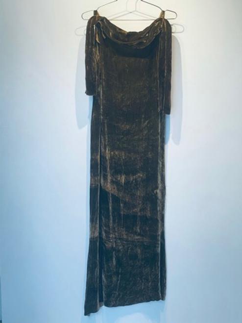 Sage green full length dress in silk velvet naturally dyed