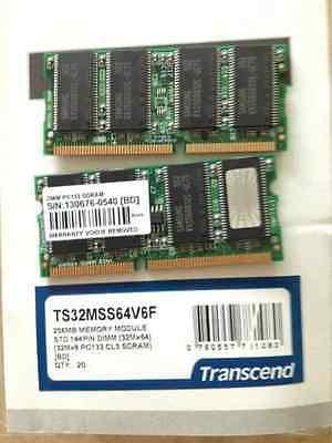 TS32MSS64V6F 256MB STD 144 PIN DIMM 32Mx64 by Transcend (15 PER)