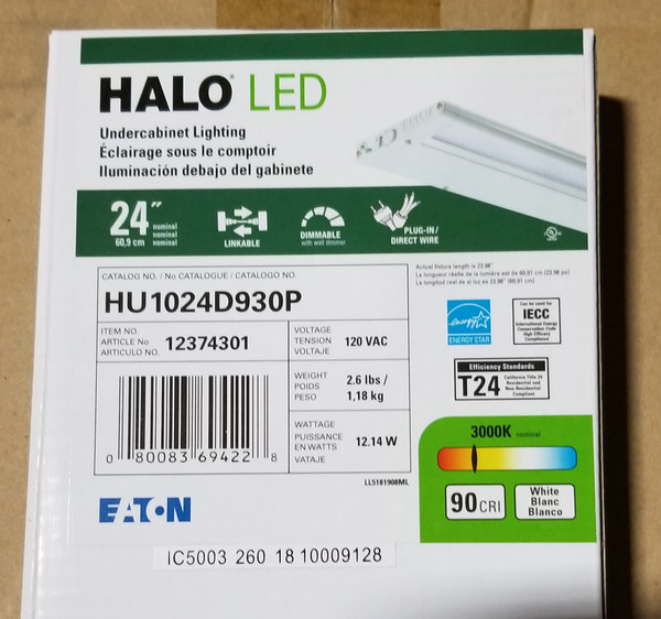 HALO LED HU1024D930P UNDERCABINET LIGHTING