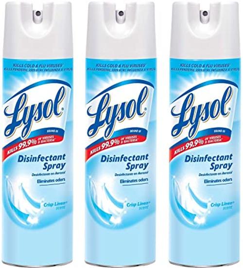 Lysol Disinfectant & Antibacterial Spray, Crisp Linen Scent 19 Oz (Pack of 3)