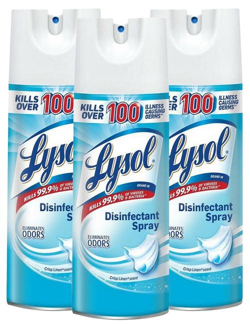 Lysol Disinfectant & Antibacterial Spray, Crisp Linen Scent 12.5 Oz (Pack of 3)