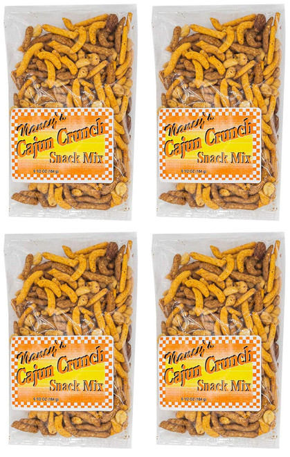 Made In USA Spicy Cajun Crunch Mix Snack Set (6 oz - Pack of 4) 1.5 lbs - Cajun Peanuts and Spicy Crackers