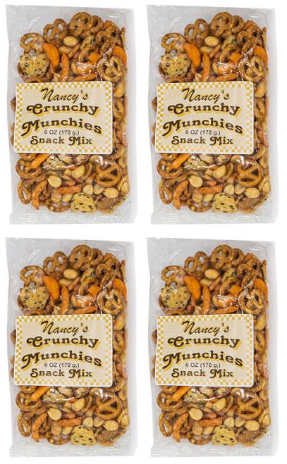 Made In USA Assorted Crunchy Munchies Mix Snack Set (6 oz - Pack of 4) 1.5 lbs - Fried Pasta, Chili Bits, Peanuts, and Garlic Crackers