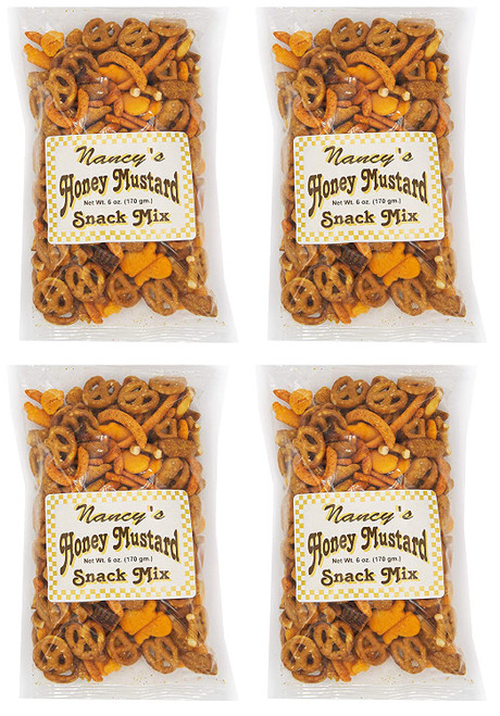 Made In USA Assorted Honey Mustard Mix Snack Set (6 oz - Pack of 4) 1.5 lbs - Honey Mustard Pretzels & Crackers