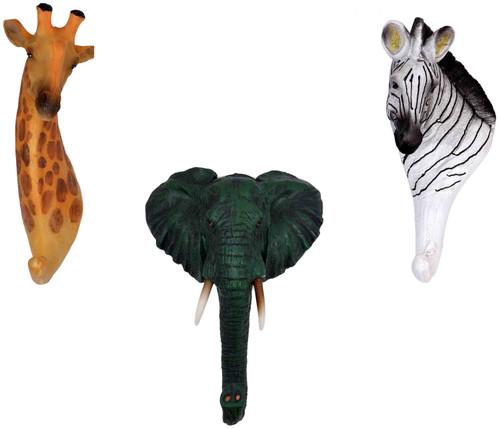 Animals Giraffe, Elephant & Zebra Resin Wall Coat Hooks (Set of 3)