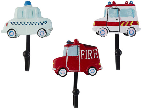 Vintage Police Car, Ambulance and Fire Truck Resin Wall Coat Hooks (Set of 3)