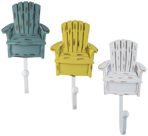 Vintage Resin Chair Wall Coat Hooks in White, Teal Green and Yellow Colors (Set of 3)