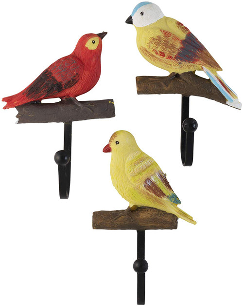 Rustic Colorful Birds On a Branch Resin Wall Coat Hooks (Set of 3)